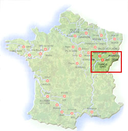 Map of Franche Compte region