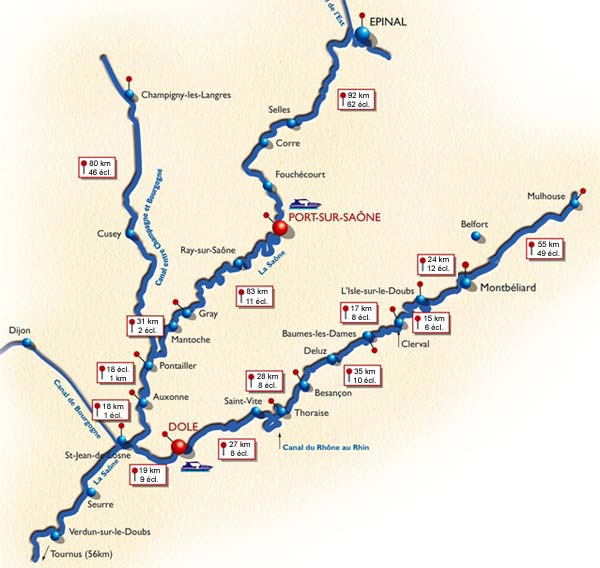 Routemap through Franche Compte region